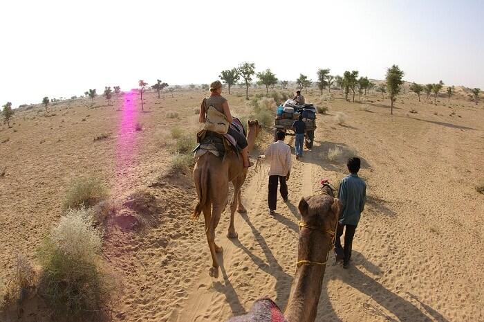 Tourists on a camel safari in the Thar Desert near Bikaner