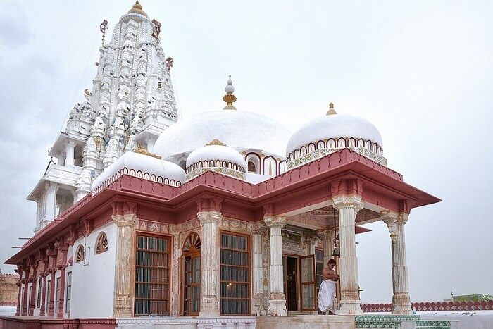 The Bhandasar Jain Temple that is built in red sandstone and white marble