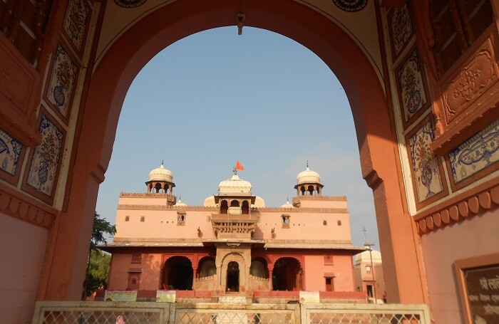 The red sandstone structure of the Shiv Bari Temple that is one of the tourist places in Bikaner