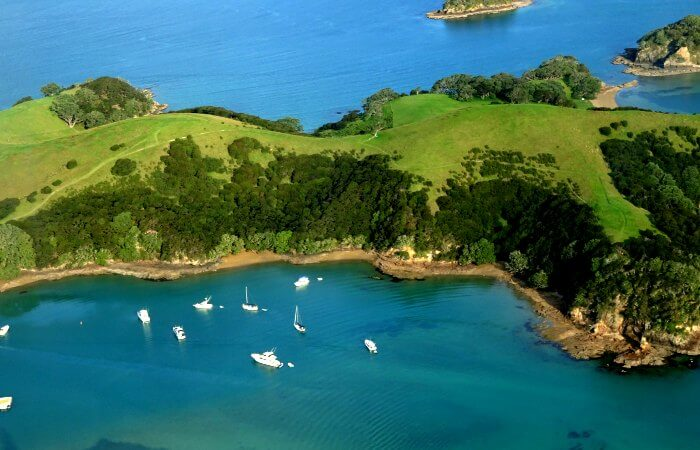 Panoramic view of Bay of Islands from Helicopter