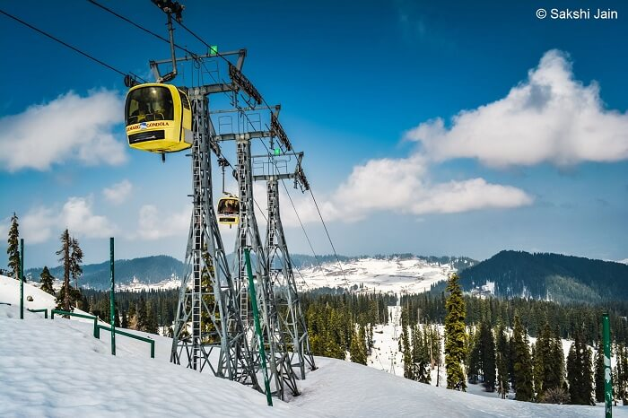 A shot of the Gondola cable car in Gulmarg during the month of April