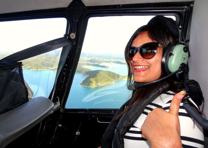 Ankita on the Helicopter Tour of Bay of Islands in New Zealand