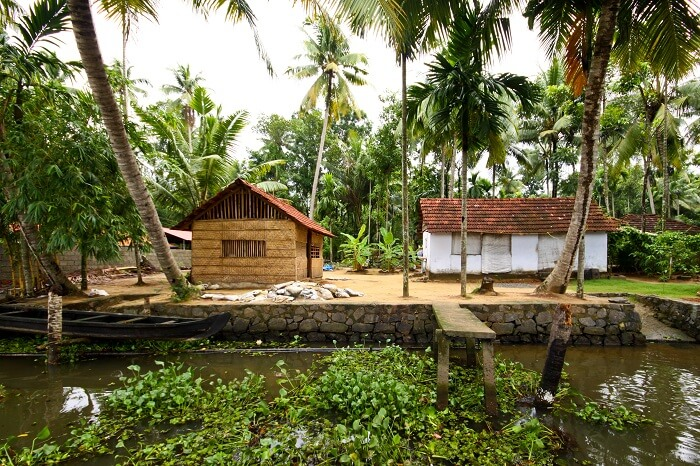 Huts along the bakcwaters of Kumarakom in Kerala