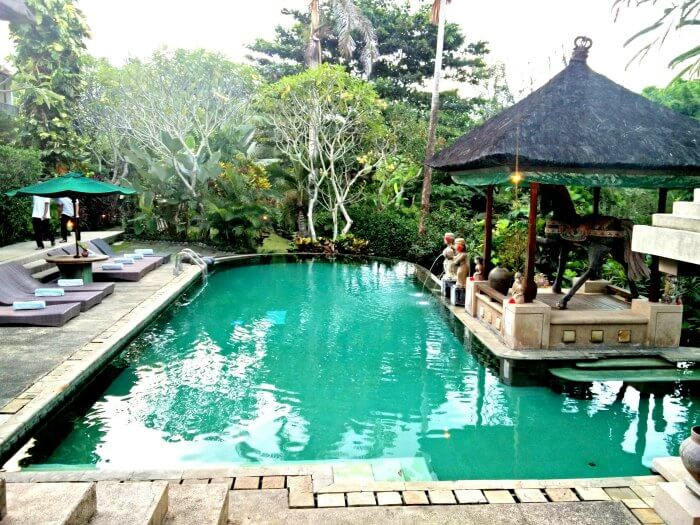 A beautiful swimming pool in a resort in Bali