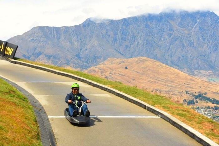Vinamra doing Luge Ride in New Zealand