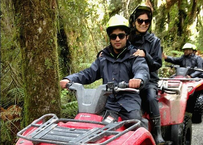 Vinamra and Ankita doing Quad Bike Safari in New Zealand