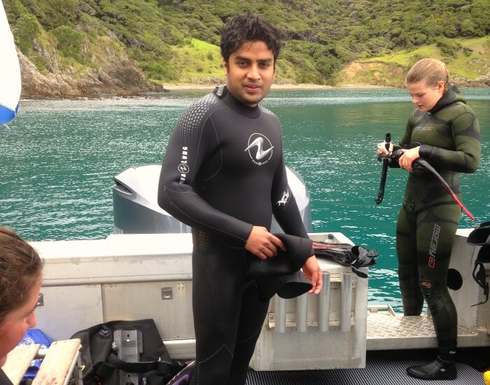 Vinamra getting ready for scuba diving in Bay of Islands