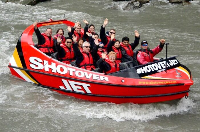 Shotover jet ride on a river in New Zealand