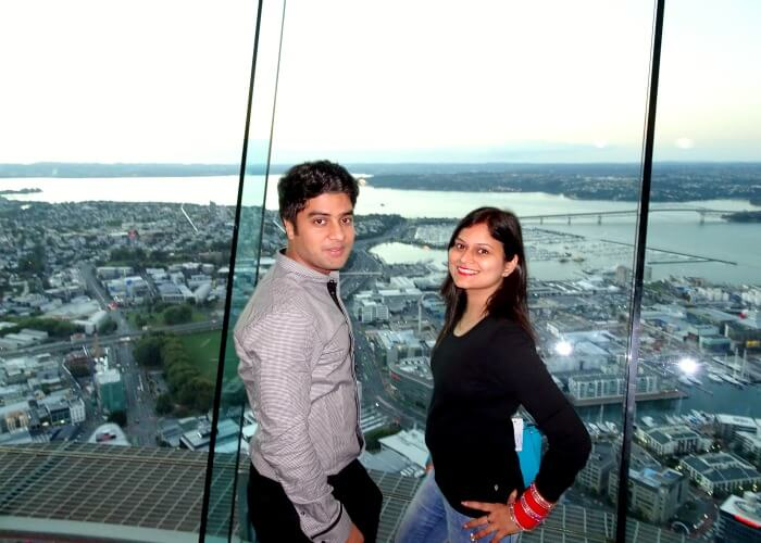 Ankita and Vinamra on the Sky Tower in Auckland