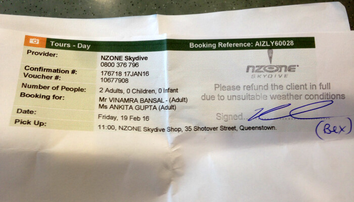 Vinamra and Ankitas cancelled skydiving ticket