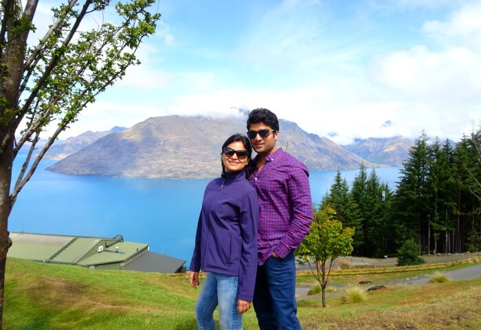 Vinamra and Ankita in the background of hills