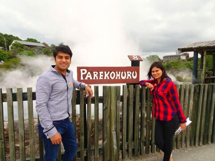Vinamra and Ankita in the thermal village of Rotorua