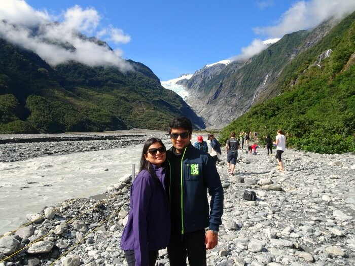 Vinamra and Ankita on the trek to Franz Josef Glacier