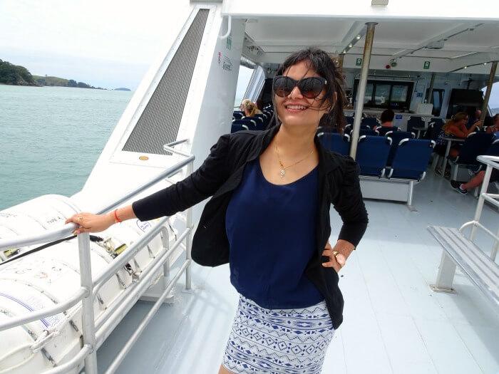 Ankita on the cruise to the Waiheke Island