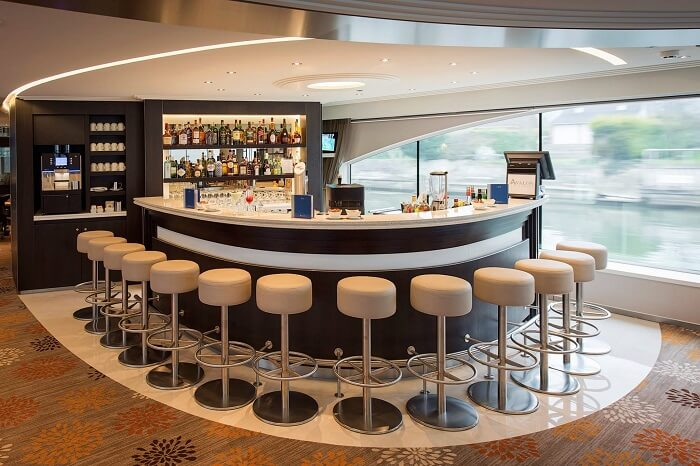 A view of the bar inside one of the Avalon cruises