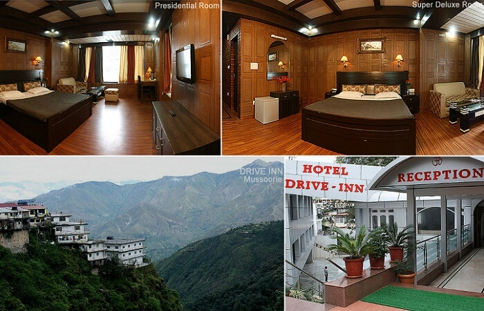 Views of the rooms and exteriors of the Hotel Drive Inn that is one of the best hotels in Mussoorie on Mall Road