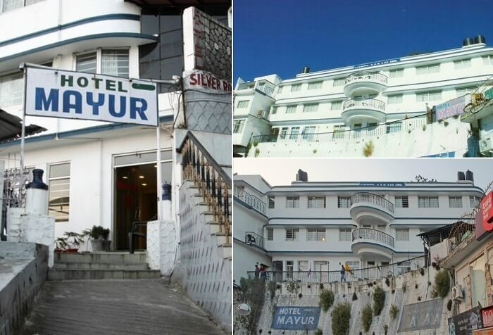 Views of the entrance and the exteriors of the Hotel Mayur in Mussoorie
