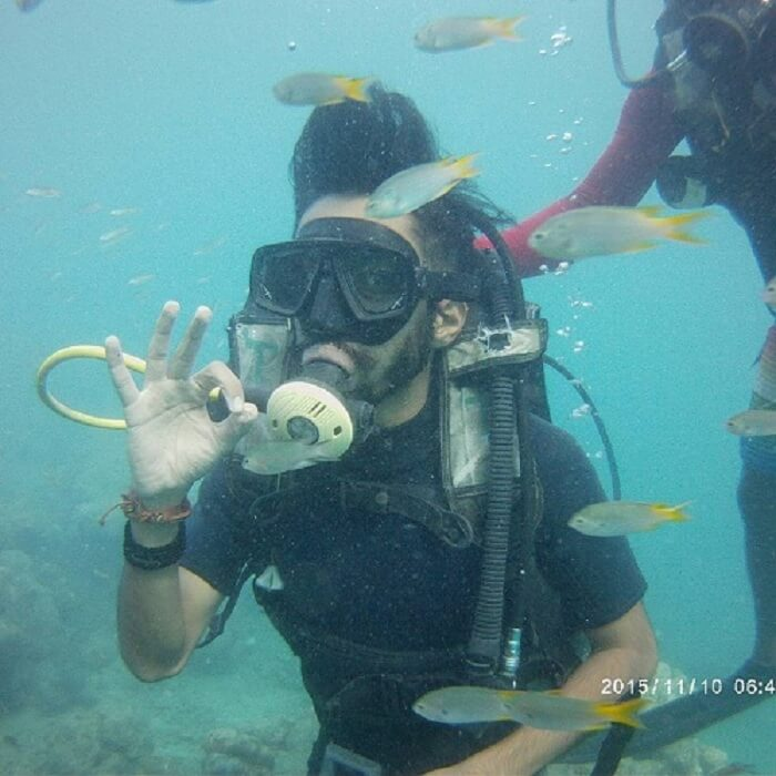 Pranav scuba diving in Havelock