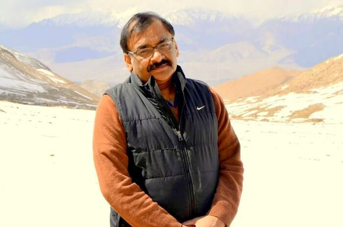 Anuradha's husband Sanjay in the beautiful backdrop of Leh