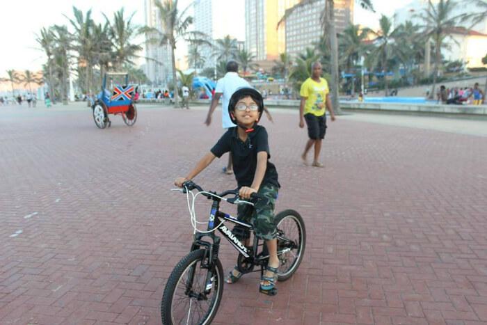 Shreyan enjoying a bike ride