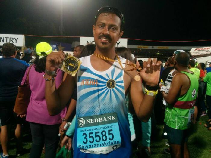 Shivaramakrishnan victorious after finishing the marathon