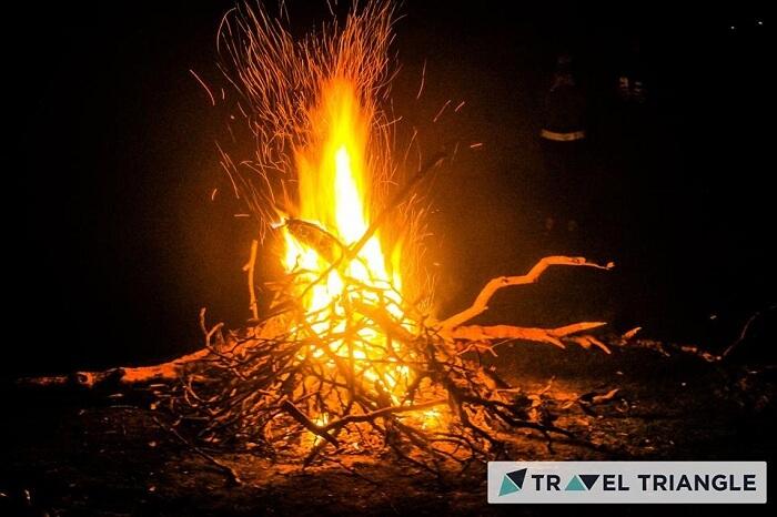 Bonfire celebration in Triund