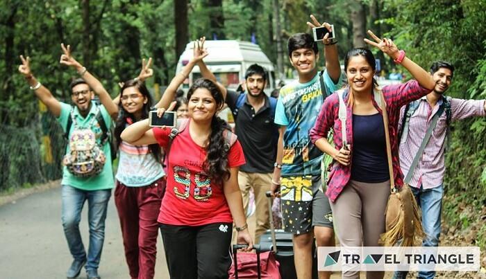 Group of people trekking in McLeodganj