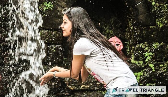 Girl near river in Jim Corbett