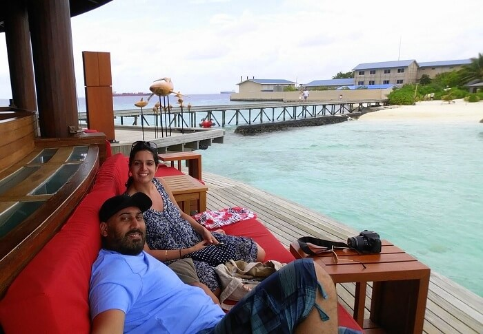 Angad and his wife relax by the ocean in Maldives