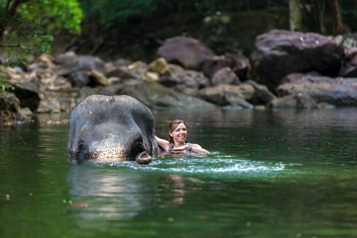 Swimming with elephants is a very relaxing and joyful thing to do in Cambodia