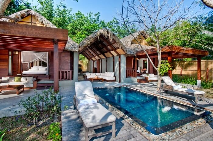 A pool-villa at the An Lam Ninh Van Bay Villas in Vietnam