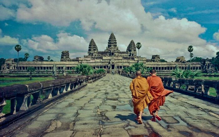 Angkor Wat - a UNESCO World Heritage Site with curved sloping roofs and elaborate chambers