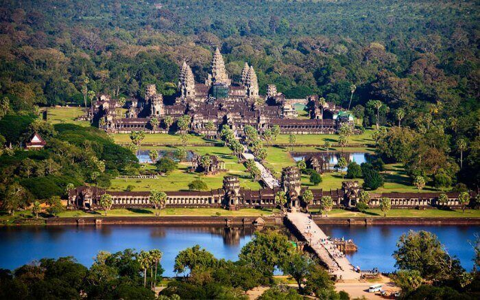 The aerial view of the Angkor Wat, the largest temple in the world