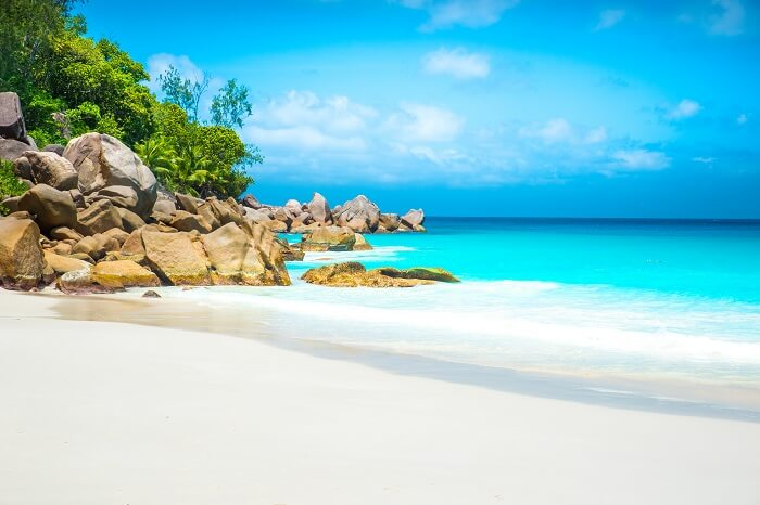 A view of the Anse Georgette beach at Praslin that is one of the most beautiful places to see in Seychelles