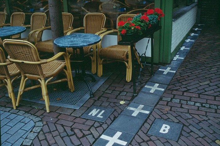 The Baarle Nassau Frontière Café at the border between Belgium and Netherlands