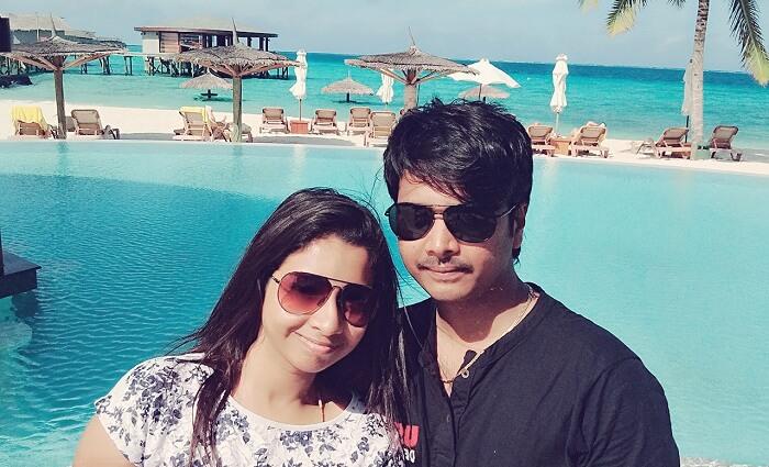 Badari and Nikitha in maldives