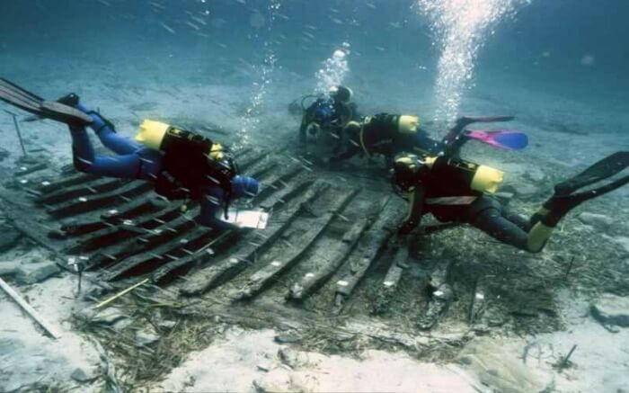 Numerous concrete pillars of Baiae have been recovered from the ocean floor off the Bay of Naples in Italy.