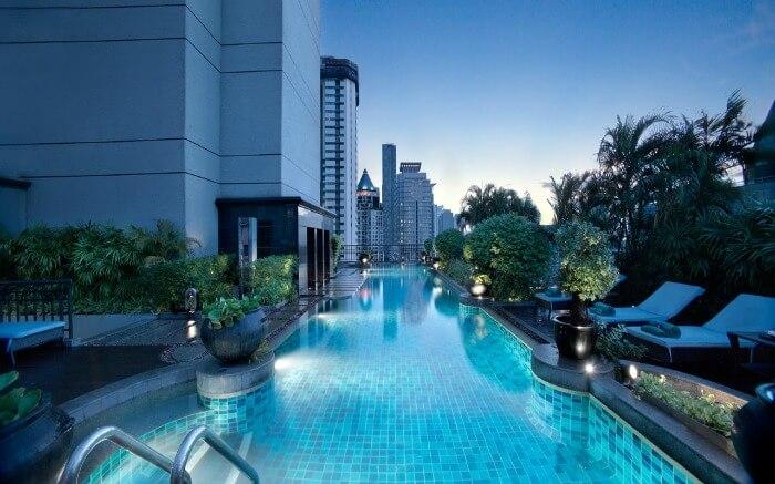 The classy pool with a view at Banyan Tree Bangkok