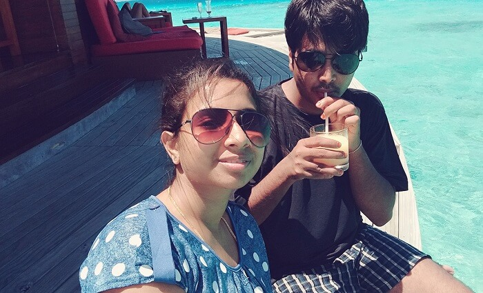 Badri and his wife enjoy in Maldives