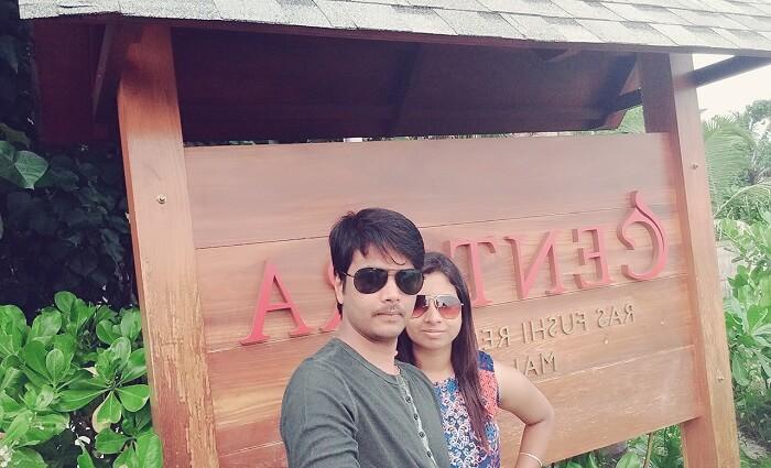 Badri and his wife at Centara Ras Fushi Resort