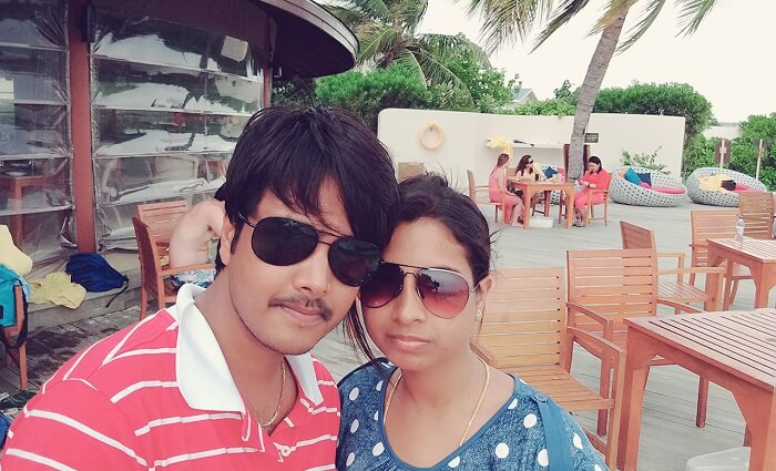 Badri and his wife in Maldives