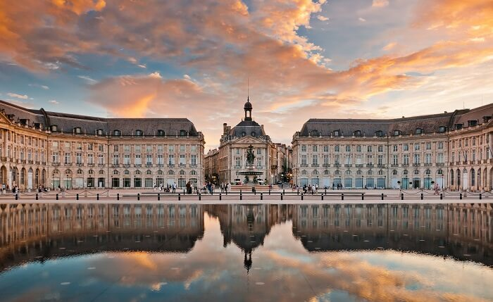 Bordeaux in France at its charming best during a stunning sunset
