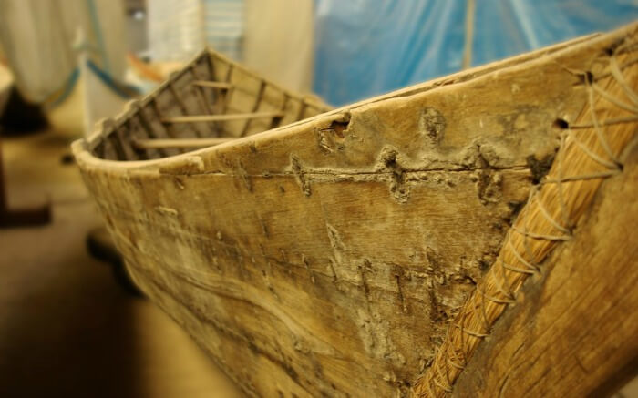 This Bronze Age Sewn Boat was made using roots, rope and willow branches.