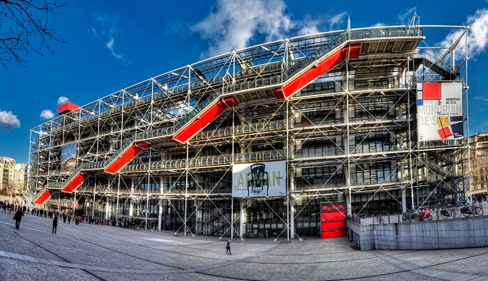 The complex structure of Centre Pompidou in Paris attracts lots of travelers