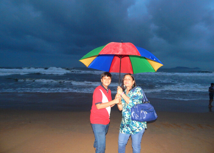Walk in the evening at Candolim Beach, Goa.