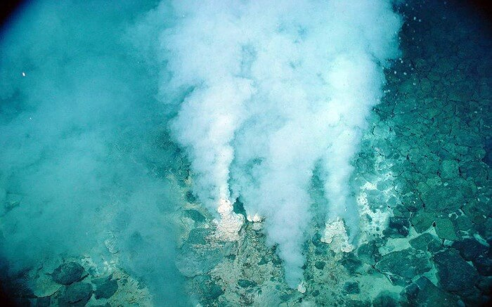 The deep sea vents in Ecuador expel water and gas from the ocean's floor.