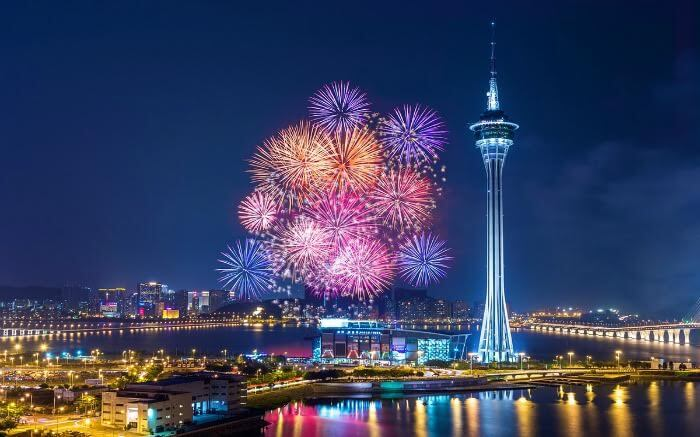 Fireworks around Macau Tower