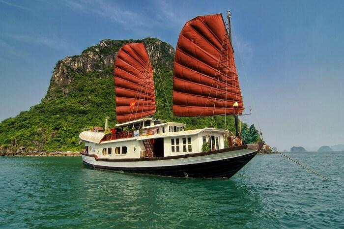 Prince Junk boat at Halong Bay in Vietnam