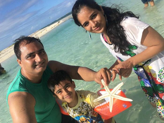 Raj Kumar and his family enjoying at Ile aux Cerfs Island