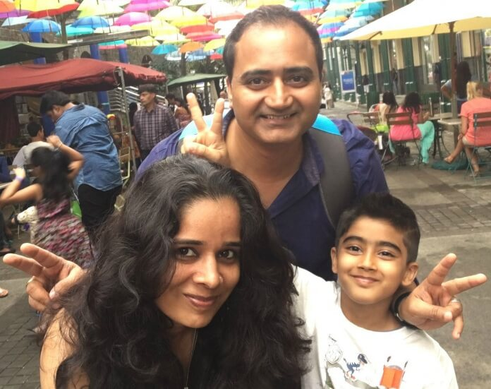 Raj Kumar and his family in Port Louis